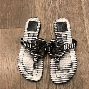 Tory Burch Navy white striped Miller sandals